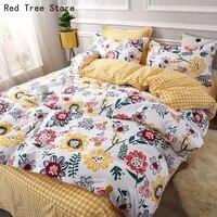 pastoral floral 3d print bedding cover set girls couple flower duvet cover pillowcases sheet 3 4pcs soft comforter queen king
