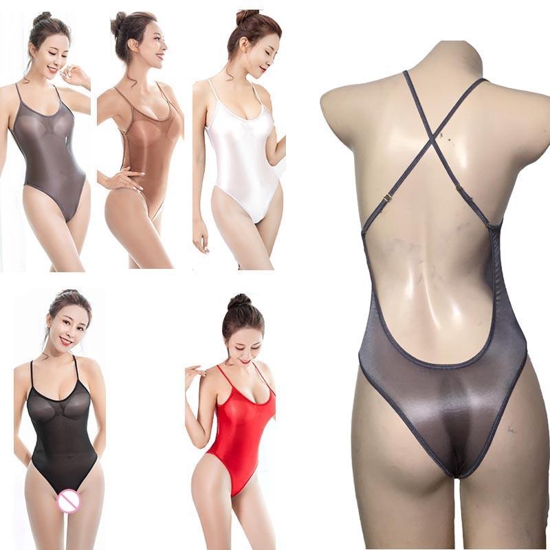 Óleo Brilhante Collant Lingerie Sexy Mulheres Sheer Travessia Voltar Skinny Brilhante Silk Peluches Bodysuit Roupa do Desgaste Da Nadada