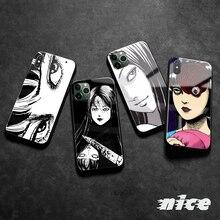 Junji Ito-funda de silicona suave con dibujos animados para iPhone, carcasa de vidrio templado de Horror para iPhone SE 7 8 Plus X XR XS 11 12 13 mini Pro max