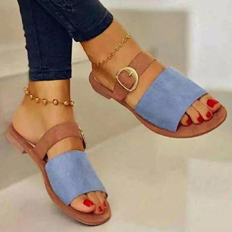 Women's Suede Solid Color Open-toe Belt Buckle Decoration Flat Heel Comfortable Fashion Elegant Casual All-match Sandals 8KH034