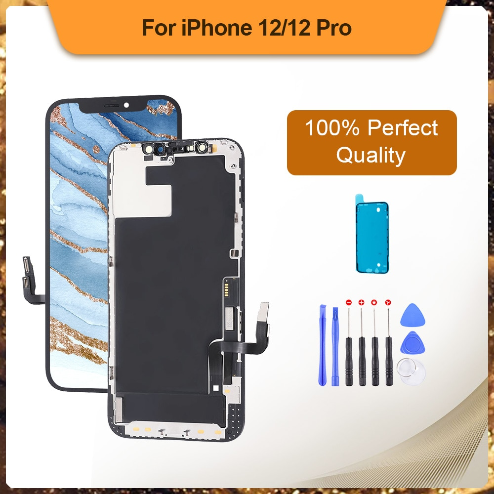 Promo Ori LCD For iPhone 12 12 Pro OLED Screen Digitizer Assembly With Frame Display No Dead Pixel Assembly Replacement With Free Gift