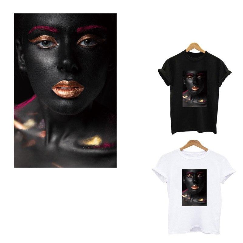 Pegatinas térmicas de rayas negras de belleza a la moda en la ropa, aplicación de un parche sensible al calor, planchar en las transferencias para la ropa
