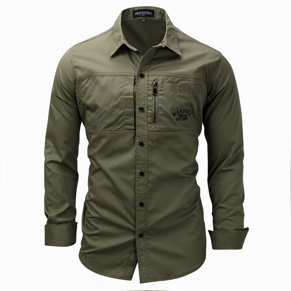 High quality Men's Slim Fit Dress Shirts Masculina Business Male Long Sleeves Army Casual Turn Down Neck Shirt Homme 3XL