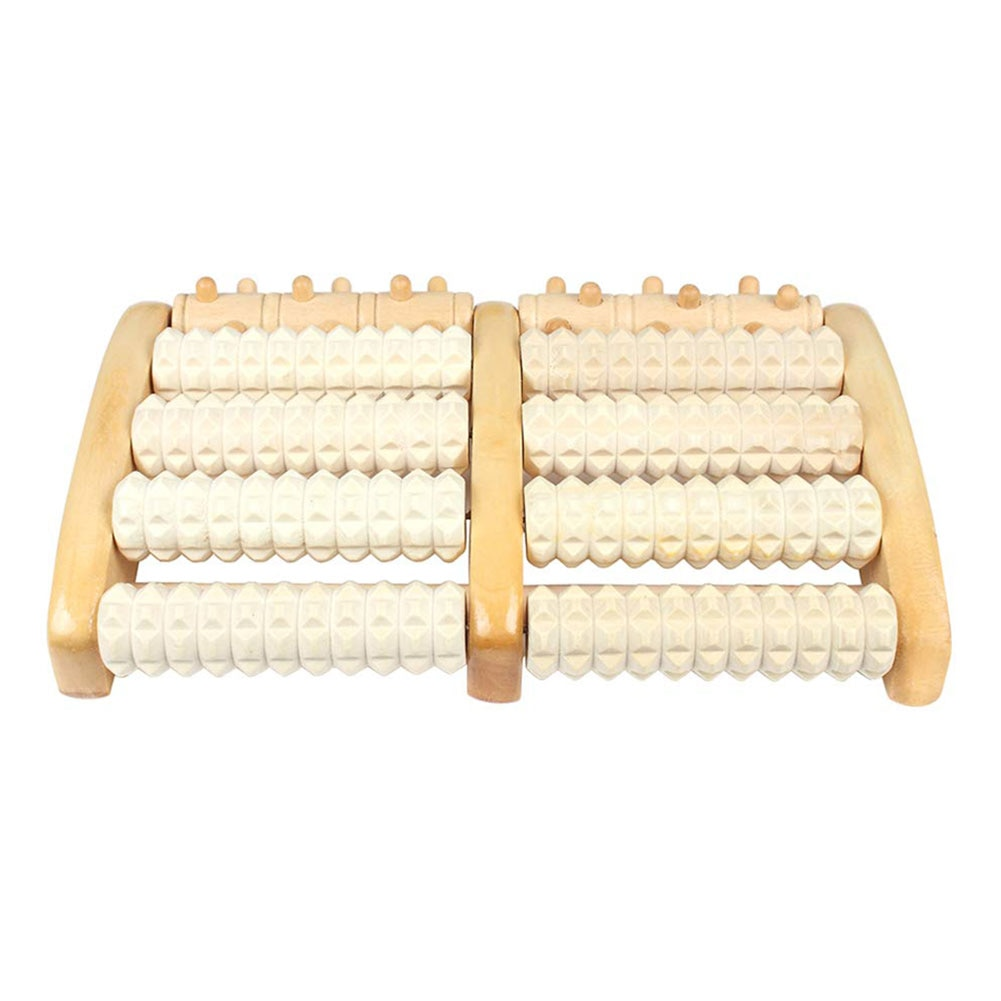 2021 Newly Dual Wooden Foot Massager Roller Relieves Plantar Acupuncture Fasciitis Heel Arch Pain Stress Shiatsu Relief