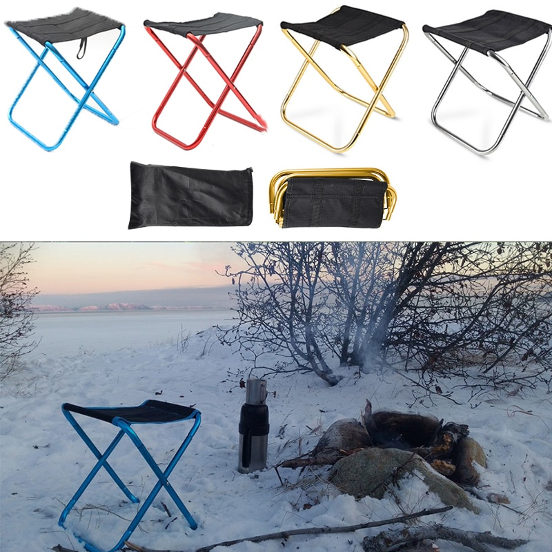 portable aluminum folding chair stool seat outdoor fishing camping picnic padded folding chair fishing Picnic Folding Chair Stool Camping Stool Portable Aluminum Fishing Stool Outdoor Hiking Simple Folding Chair Free Shipping