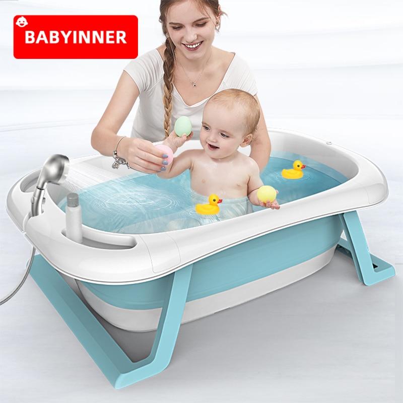 Babyinner Folding Baby Bath Tub Smart Bath Bucket 85*53*25cm Large Bidet Kid Newborn Supplies Shower Tub Thick Bathtub 0-8Y