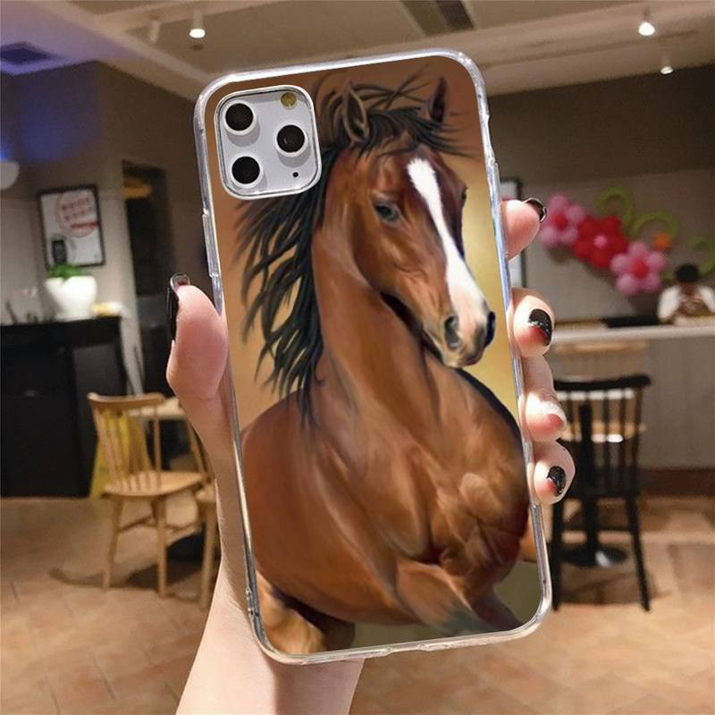 Horse animal grassland Phone Case Transparent for iPhone 6 7 8 11 12 s mini pro X XS XR MAX Plus cover funda shell  - buy with discount