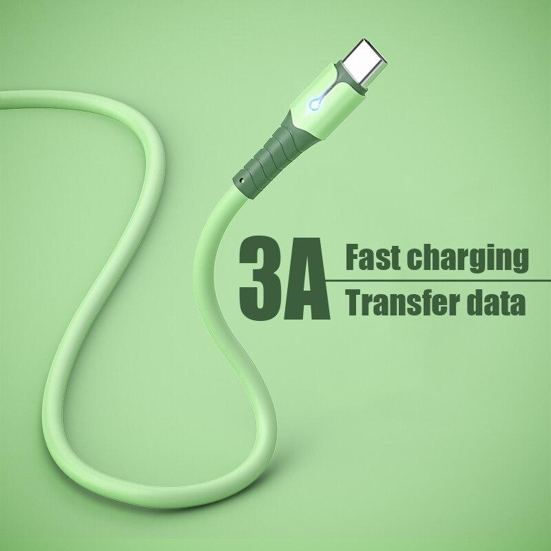 Жидкий силиконовый кабель USB Type-C для Xiaomi, кабель USB C, кабель Type-C для быстрой зарядки, передачи данных и зарядки телефона для Huawei P40
