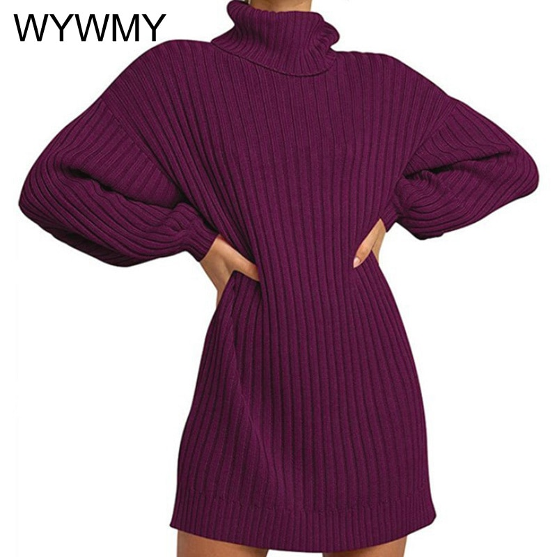 Women Turtleneck Oversized Knitted Dress Autumn Solid Long Sleeve Casual Elegant Mini Sweater Dress Plus Size New Winter Clothes girls sweater turtleneck knitted long sleeve kids clothes autumn 2018 casual children school uniform size 8 10 12 13 15 year