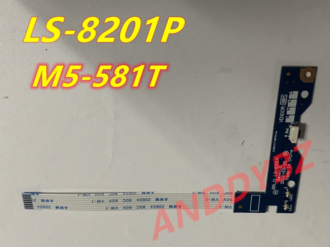 جديد الأصلي لشركة أيسر أسباير M5 M5-581T زر الطاقة مجلس التبديل المجلس مع كابل LS-8201P TESED OK