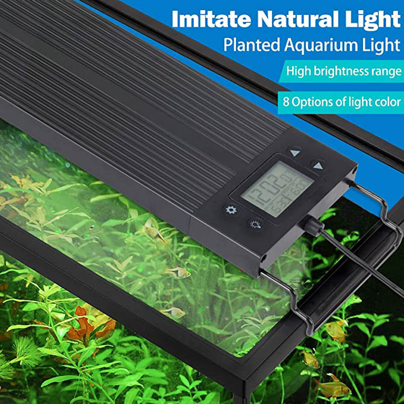 Waterproof Programmable RGB Aquarium LED Light Full Spectrum Lighting for Aquatic Plant Brightness Adjustable for 12-24inchTank