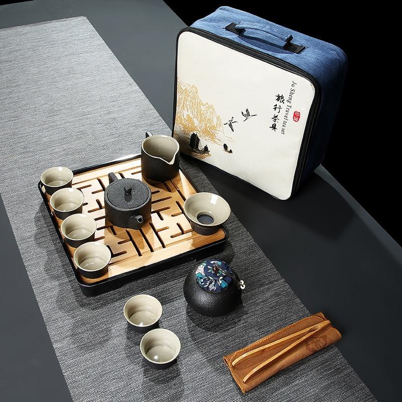 Travel Chinese Tea Set Ceramic Portable Drinkware Infuser Wedding Ceremony Kung Fu Tea Set Cup Tray Home Matcha Teaware DF50CJ