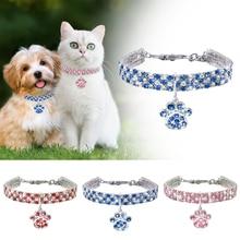 Collier en cristal pour animaux domestiques D40   Collier pour chien chat, strass, patte de chien, pendentif, collier pour chiot, collier de Style princesse, accessoires pour animaux domestiques