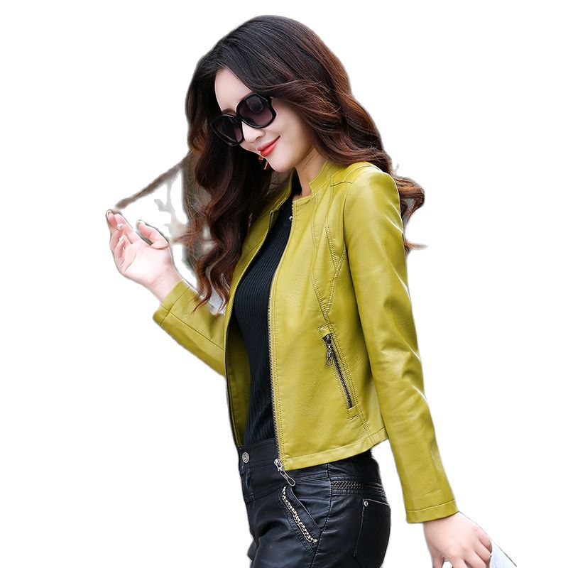 Leather biker jacket women short red leather jacket Pu Faux Leather Coat For Women 2021 white leather jacket zipper biker jacket