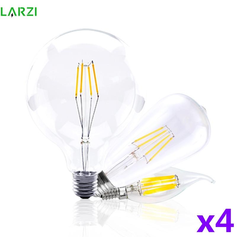 4 шт./лот, светодиодная лампа в виде свечи C35 ST64, винтажная лампа E14 LED E27 A60 G95 G125 AC220 V, светодиодные глобусы 2 Вт 4 Вт 6 Вт 8 Вт, лампочки накаливания...