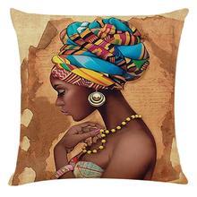 Hd 인쇄 아프리카 추상 초상화 코 튼 린 넨 쿠션 커버 아프리카 여성 포스터 던져 베개 케이스 광장 pillowcases
