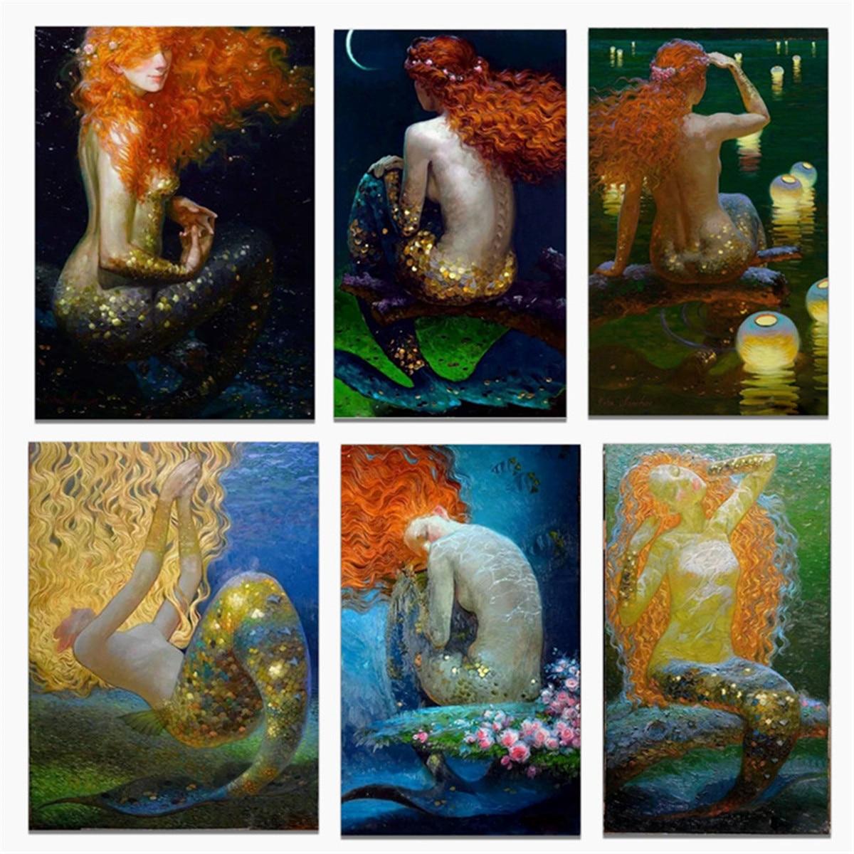 Русалка различные позы холст художественный плакат печать Настенная картина гостиная домашний Декор без рамки