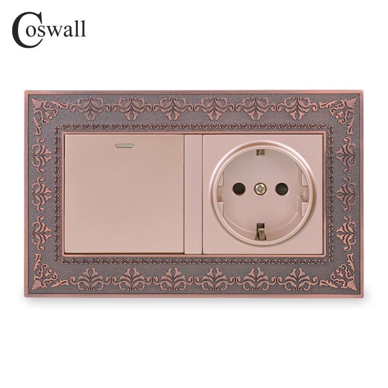 Coswall Zinc Alloy Metal Panel Russia Spain EU Standard Wall Socket + 1 Gang 1 Way On / Off Light Switch Embossing Retro Frame