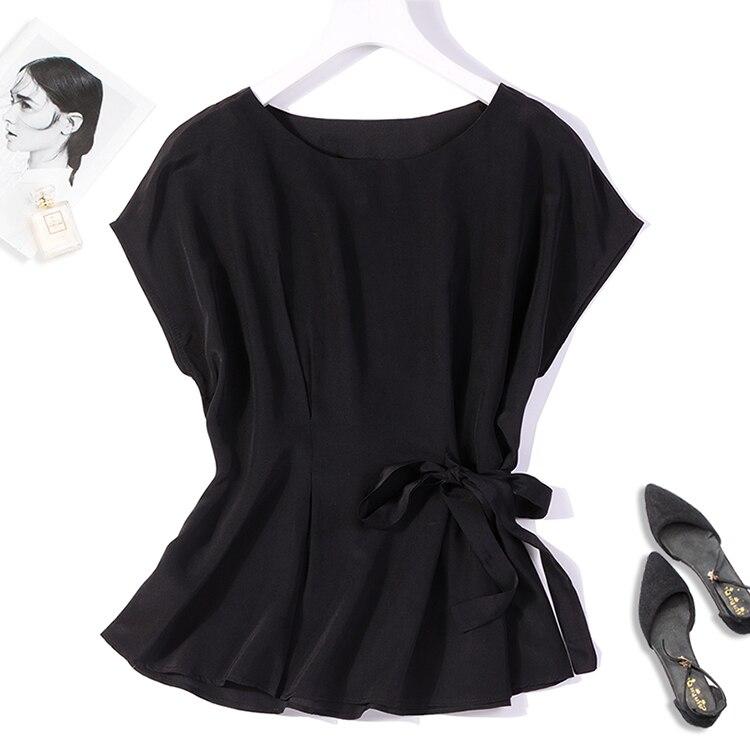 Женский топ из 100% чистого шелка, черная блузка с вырезом лодочкой, короткими рукавами и поясом на талии, M L XL JN466