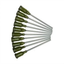 Agujas dispensadoras de pegamento, agujas de acero inoxidable, 14Ga, verde, puntas de aguja de jeringa para pegamento, tinta de relleno, flujo de soldadura de aceite, 10 Uds.