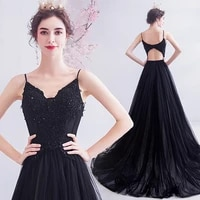 2020 new arrival noble sexy v neck suspenders black backless evening dress 933