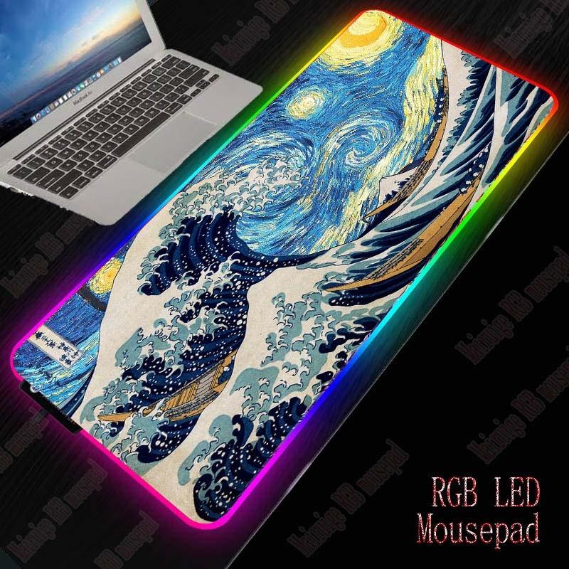 Mairuige, arte de ola RGB, alfombrilla de ratón para juegos, LED, extendido, iluminado, USB, teclado grueso, colorido luminoso para PC, ordenador portátil, escritorio