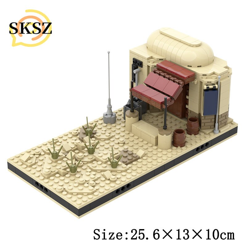 military city the way building blocks obstacle block model moc compatible city street view ww2 scenes diy christmas gift toys MOC City Desert House Street View Assembly Model Educational Building Blocks Compatible Ornaments Cities Toys For Children Gifts