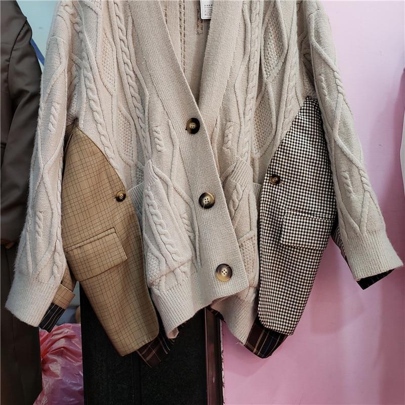Oversized Cardigan for Women 2021 Autumn Clothing New V-neck Twist Stitching Plaid Loose Mid-Length Knitted Coat Femme enlarge