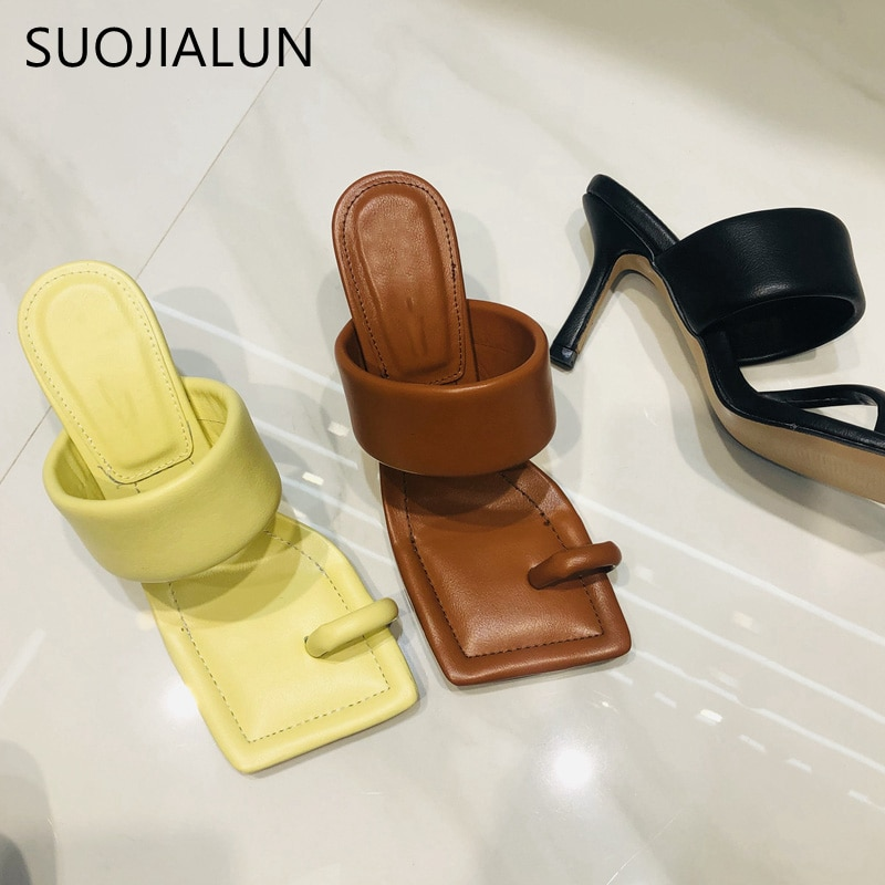 SUOJIALUN 2021 تصميم جديد مربع اصبع القدم رقيقة عالية الكعب النعال الصيف في الهواء الطلق الانزلاق على فستان أحذية السيدات أنيقة الشرائح صندل