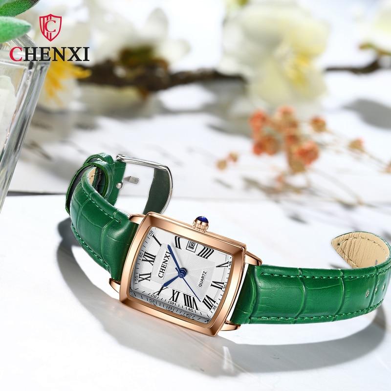 CHENXI Women's Square Watch Luxury Slim Large Dial Simple Waterproof Fashion Leather Strap Ladies Quartz Watch WA227 enlarge