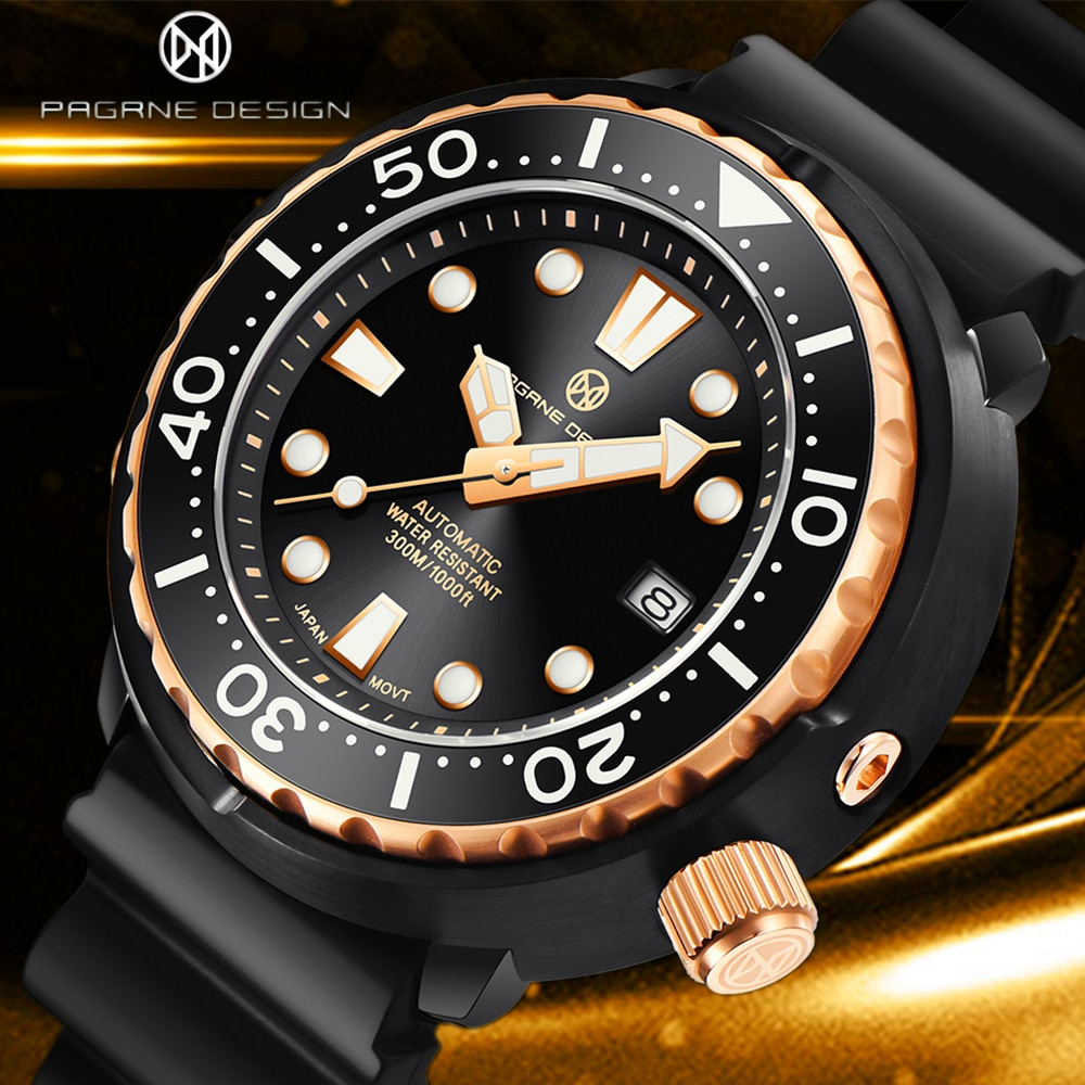 PAGRNE DESIGN New Fashion Men Mechanical Wristwatches Luxurys Sapphire Automatic 300m Waterproof Sta