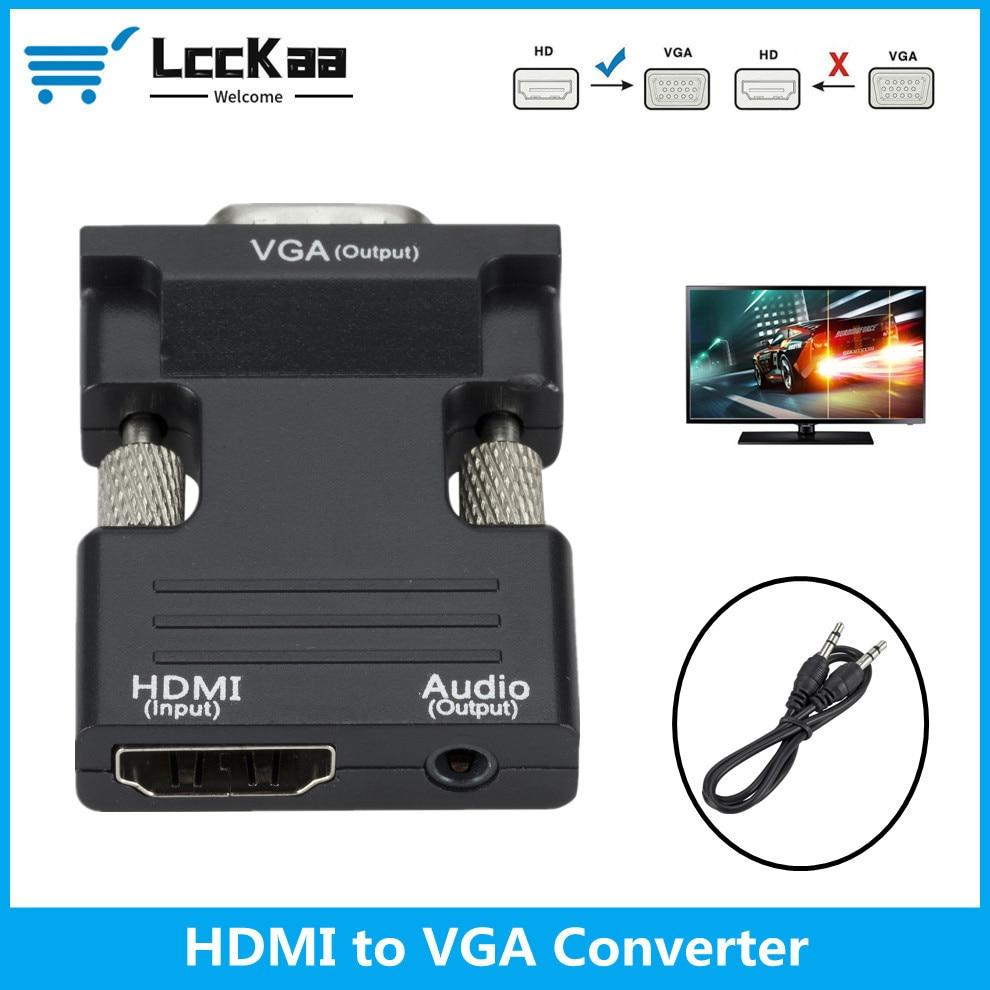 Convertidor HDMI hembra a VGA macho, adaptador de Cable de Audio de...