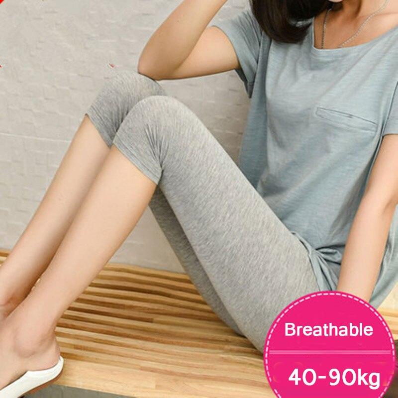 Leggings modales de siete puntos para mujer en verano, cintura alta y delgada versión coreana, pantalones delgados con peso Extra y tamaño Extra