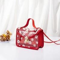 2021 fashion women transparent daisy pattern shoulder bag hardware chain strap color block messenger handbag composite tote