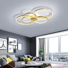 Plafond moderne à LEDs lumières pour salon chambre Luminaire plafonnier or fini vague lustre plafonnier pour maison chambre
