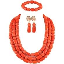 Perles de corail nigérianes Orange collier de corail africain ensemble de bijoux perles de corail ensemble de bijoux pour les femmes COR-01