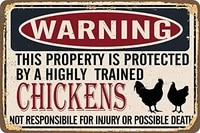 metal sign warning property protected by chickens durable metal sign for wall decor 12x16 inch