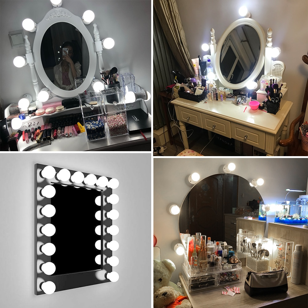 CanLing Wall Lamp LED 16W Makeup Mirror Vanity Led Light Bulbs Hollywood Led Lamp Touch Switch USB C