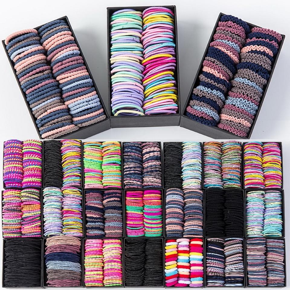 50/100 unids/set niñas goma elástica de Nylon bandas para el pelo de los niños de colores de caramelo con banda de goma diadema accesorios de moda para el pelo de