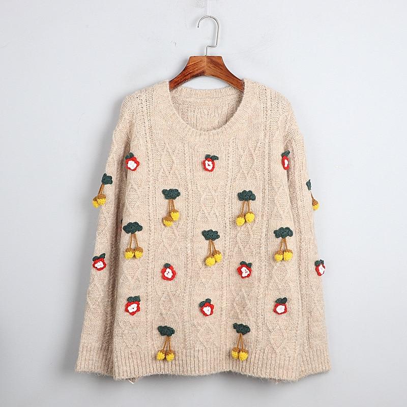 1101 2020 осенний свитер, бесплатная доставка, круглый вырез, длинный рукав, вязаные цветы, однотонная модная женская одежда S m L dl