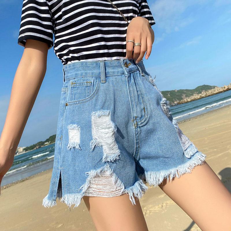Hole Denim Shorts Female Summer 2020 New High Waist Loose Wearing Black Was Thin Korean Net Red Bf Hot Tide