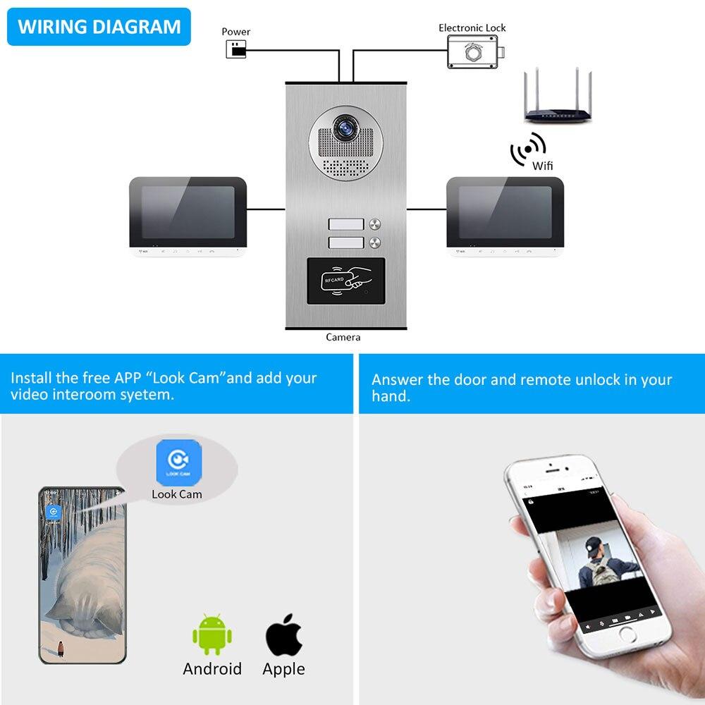 7 Inch Wifi Video Door Bell Intercom System with  RFID Doorbell Camera 2 Family Multi nits Apartment Video Door Phone Intercom enlarge