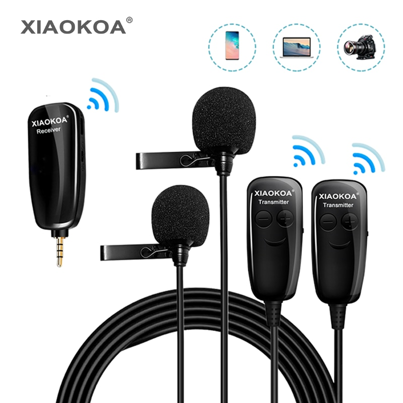 XIAOKOA DUAL UHF Lavalier Lapel Wireless Microphone Recording Vlog Youtube Live Interview for Iphone Ipad PC Android DSLR mic uhf wireless lavalier microphone 100 channel lapel microphone for phone video slr camera recording live interview tkl pro wm 8