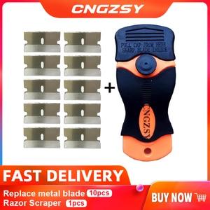 Image 1 - 1 шт. скребок для бритвы 10 шт. Сменные Металлические лезвия для клеевой наклейки пленка для краски керамическая печь для автомобиля домашняя Чистка пола K05 Лидер продаж
