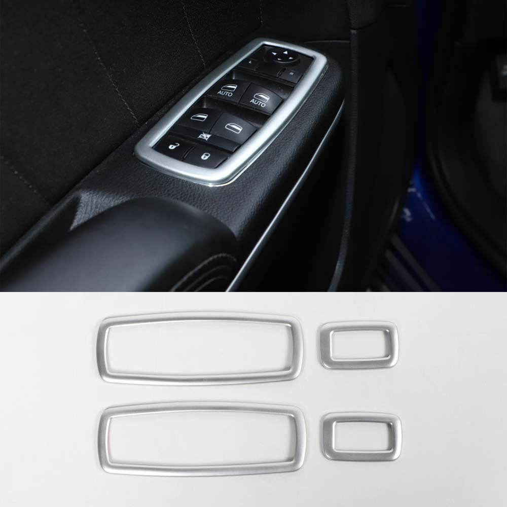 For Dodge Ram 2010 Up Car Window Lift Switch Panel Frame Trim Stickers Interior Car Styling