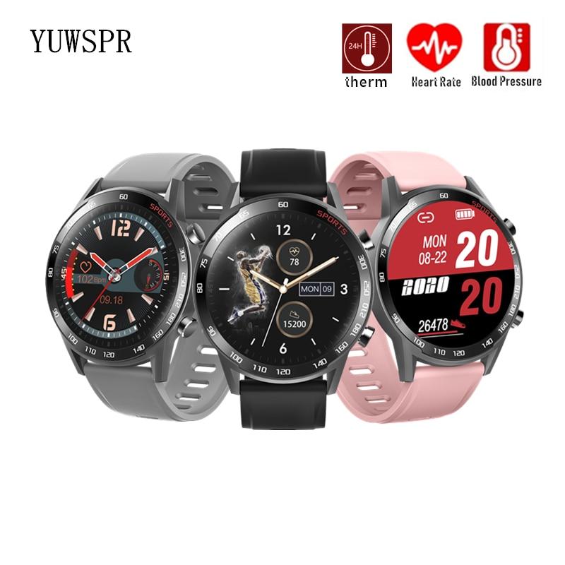 ساعة ذكية درجة حرارة الجسم كامل شاشة تعمل باللمس ضغط الدم معدل ضربات القلب مقاوم للماء الرجال النساء الرياضة ساعة ذكية T23