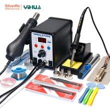 YIHUA 8786D Station de soudage 110V souffleur dair chaud pistolet à souder fer à souder 2 en 1 Station SMD Station de reprise 740W