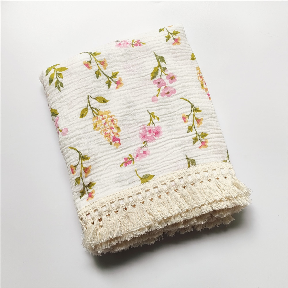 Cotton Muslin Baby Blanket with Tassels Newborns Receiving Blankets Muslin Swaddle Blankets for Babies and Infant Swaddle Wrap