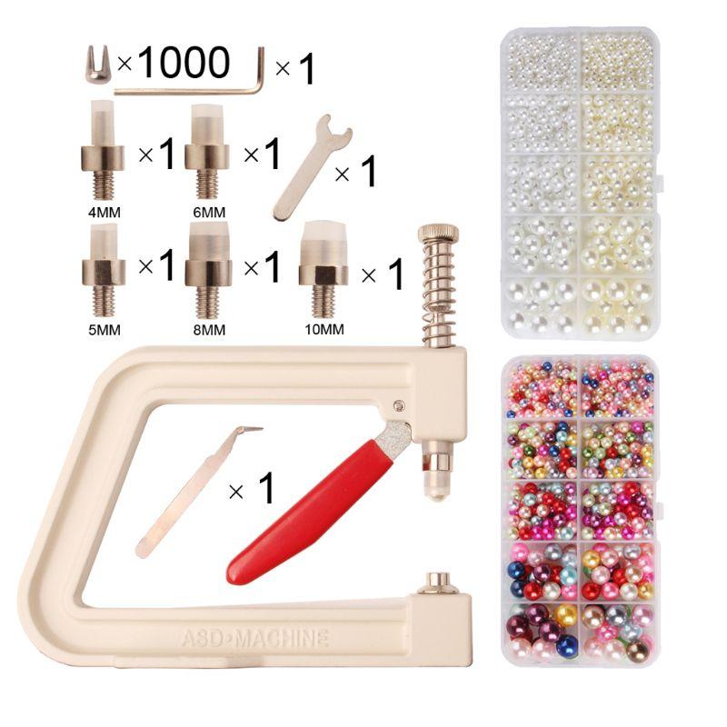 Máquina de fijación de perlas redondas Manual de todos los tamaños, máquina de fijación de perlas para prendas de vestir, juego de suministros de decoración de abalorios