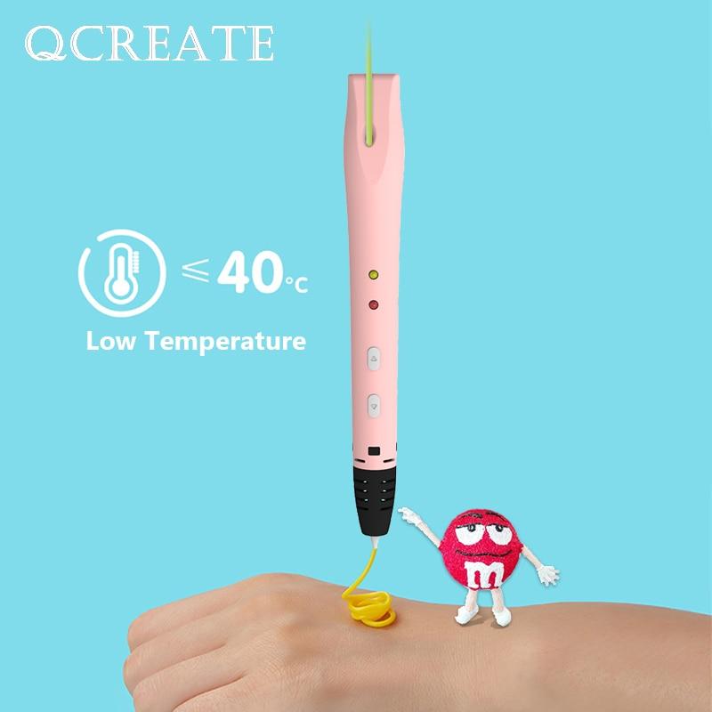 Temperatura de Qcreate Materiais a Favor do Meio a Pena de Impressão 3d da Baixa Vem com 20 Cores Medidores Ambiente Filamento Qw01-14s 100 Pcl